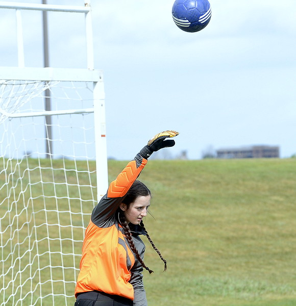 Resurrection Christian goalie Faith Brown warms up prior to Thursday's match with Valley at Loveland Sports Park. (Mike Brohard/Loveland Reporter-Herald)