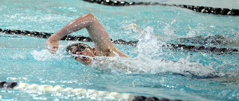 Mountain View's Julien Goering swims to a second-place finish in the 500-yard freestyle during Thursday's triangular with Valley and Estes Park at the Mountain View Aquatic Center. (Mike Brohard/Loveland Reporter-Herald)