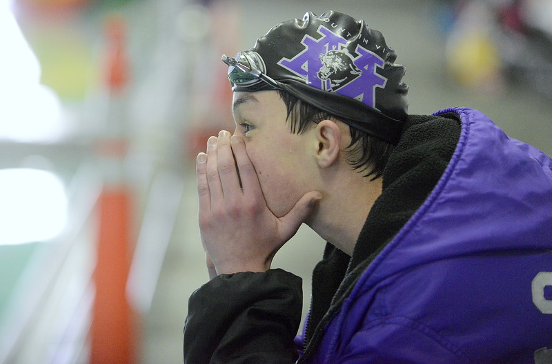 Mountain View's Avery Vinton cheers loudly for his 200-yard freestyle relay teammates during Thursday's triangular with Valley and Estes Park at the Mountain View Aquatic Center. (Mike Brohard/Loveland Reporter-Herald)