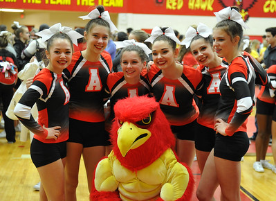 The Rochester Falcons won the MHSAA D1 Competitive Cheer Regional held at Troy Athens HS on Saturday February 25, 2017.  The Falcons had 788.72 points.  Rochester Adams was 2nd, Sterling Heights Stevenson 3rd and Stoney Creek 4th. All four advance to next Friday's state finals.  (MIPrepZone photo by Ken Swart)