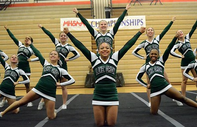 Grandville won the Division 1 regional cheer competition at Brighton High School on Saturday. Lake Orion placed fourth to qualify for the state finals. Waterford Mott took seventh, Hartland finished eighth and West Bloomfield placed 10th. (MIPrepZone photo by Drew Ellis)