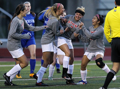 Troy Athens squared off against Rochester in varsity soccer action at Athens Thursday, April 13, 2017. (MIPrepZone photo by Larry McKee)