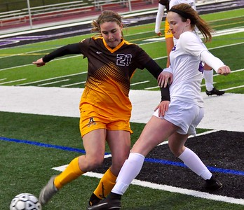 Bloomfield Hills hosted Rochester Adams for an Oakland Activities Association Red Division girls soccer game on Thursday, April 13, 2017. (MIPrepZone photo by Dan Fenner)