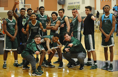 The Birmingham Groves Falcons defeated the Stoney Creek Cougars 62-33 to win the OAA Blue title.  The game was played on Thursday March 2, 2017 at Stoney Creek HS.  (MIPrepZone photo by Ken Swart)