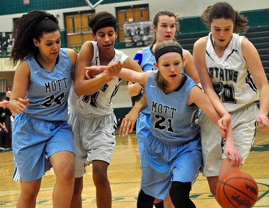 Waterford Kettering defeated Waterford Mott in a Class A girls basketball district playoff semifinal at Lake Orion High School on Wednesday, March 1, 2017. (MIPrepZone photo by Dan Fenner)