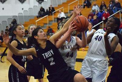 Birmingham Marian steadily pulled away from underdog Troy, winning 58-30 in a Class A district semifinal on Wednesday, March 1, 2017. (MIPrepZone photo by Matthew B. Mowery)