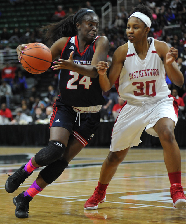 . The Southfield A&T Warriors were defeated in the MHSAA Class A State semi-final game by East Kentwood 55-51.  The game was played on Friday March 17, 2017 at The Breslin Center in East Lansing.  (MIPrepZone photo by Ken Swart)