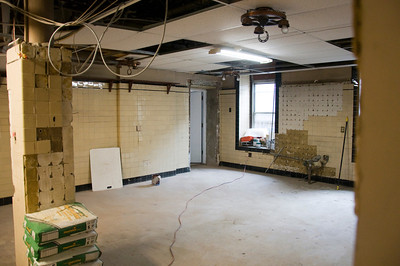 Previously used primarily for storage, the basement of Shalloe Hall is also receiving upgrades. Here, another former storage area is being converted to office space for Campus Ministry.