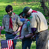 KRISTOPHER RADDER — BRATTLEBORO REFORMER<br /> Jack Mosher, Emerson Cohen, and Elliot Cohen goes over a list of veteran gravesites at West Dover Village Cemetery, in Dover, Vt., to place American flags on Thursday, May 21, 2020.