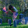 KRISTOPHER RADDER — BRATTLEBORO REFORMER<br /> Members of the Boy Scouts Troop 461 put American flags on to veteran gravesites at West Dover Village Cemetery, in Dover, Vt., on Thursday, May 21, 2020.