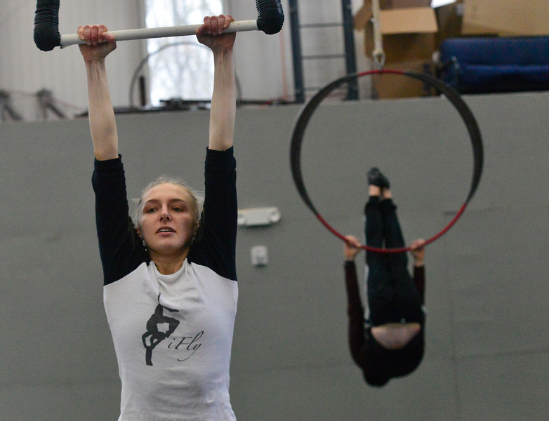 KRISTOPHER RADDER — BRATTLEBORO REFORMER<br /> Lily Hochstetter works with Aimee Hancock, a coach at New England Center of Circus Arts, as she prepares for an audition.