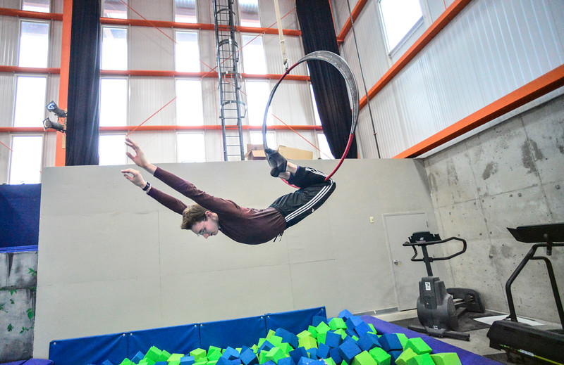 KRISTOPHER RADDER — BRATTLEBORO REFORMER<br /> Owen Leonard works on his routine on the aerial hoop at the New England Center of Circus Arts for an upcoming audition on Monday, Feb. 3, 2020.