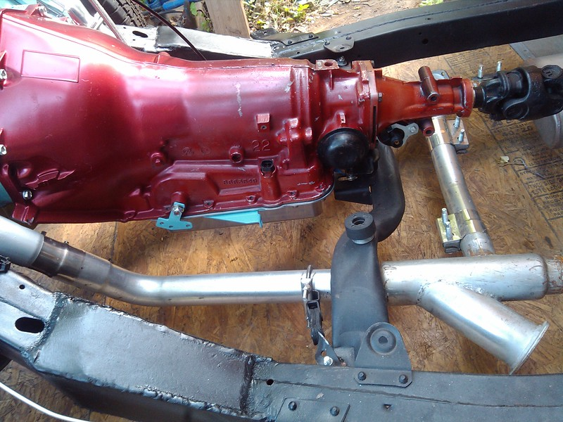 """Painted and mounted the shift linkage, exhaust is all done and hooked up. Check out the """"cut-outs"""" with flange connector. Got some electric two position butterfly valves with dash mounted switch to open and close them at will.. gonna be fun.."""