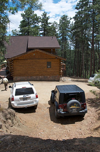 Here's the side of the house as viewed from the Prescott National Forest. Yes, we border the forest! As you can see we have lots of parking spaces.