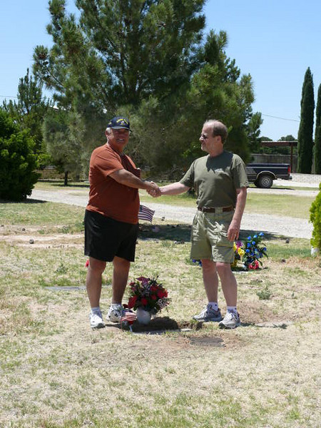 Dave Strand and Roger Vincell At The Graveside of Fellow MCB-4 Ron Harrison       RIP Ron-Well Done