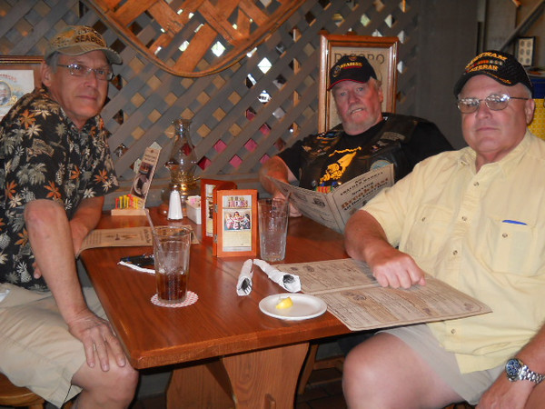 Lunch at Crackerbarrel 25May12<br /> From Left:Terry Lukanic NMCB-74:Red Rider NMCB-4:Perry Betts NMCB-5<br /> <br /> We were on our best Seabee behavior...but the Manager still didn't ask us to leave