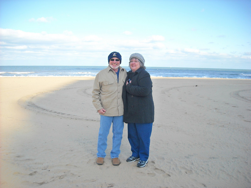 Rev and Sher.  On the beach in Virginia Beach, VA - Mar '09.