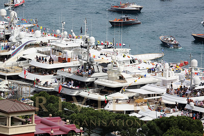 La Condamine Monaco - May 28 2016: Luxury Yachts are Parked in the Port Hercule for the Monaco Formula 1 Grand Prix 2016
