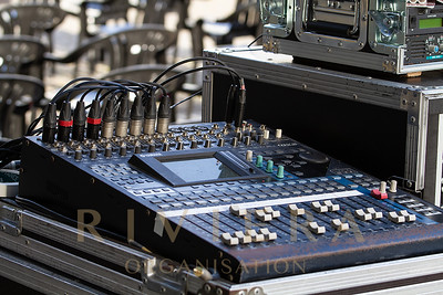 Santiago De Compostela, Spain; May 02, 2019: Music Mixer On Outdoors, Mixing Table With Buttons And