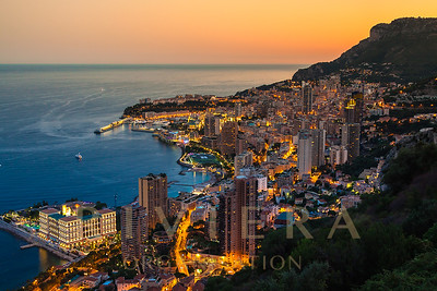 Monte Carlo In View Of Monaco At Night On The Cote D'azur