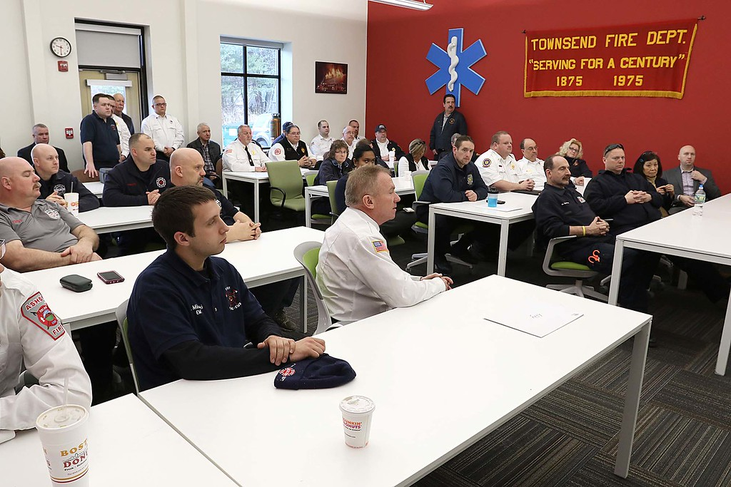 . A donation of Lucas 3\'s to fire departments from all over the region was held on Saturday at the Townsend Fire Department. Many listen to instructions on how to use the device at the event. SENTINEL & ENTERPRISE/JOHN LOVE