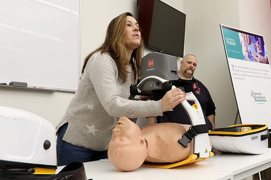 . A donation of Lucas 3\'s to fire departments from all over the region was held on Saturday at the Townsend Fire Department. Crystal Perry with Physio Control the manufacturer of the Lucas 3 gives instructions on how to use the device. SENTINEL & ENTERPRISE/JOHN LOVE