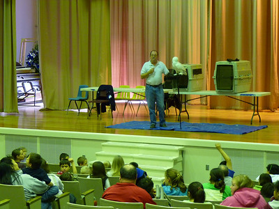 On stage in Egegik at the Bristol Bay School.