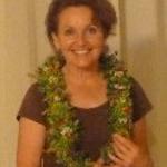 Our speaker, Cathy Davenport. Tamara Sherrill made Cathy's lei of Schiedea globosa, loulu flowers, 'ulei, & 'akia berries from Maui Nui Botanical Garden.