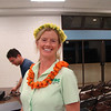 Our speaker, Lissa Fox Strohecker, with a head lei of mau & lei of  koki'o 'ula (Hibiscus kokio subsp. stjohnianus). Lei made by Lorna Hazen from flowers she grew.