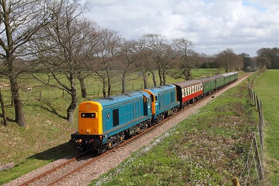 20205+20189 on the 1330 Sheffield Park to East Grinstead at Freshfield on the 1st April 2017