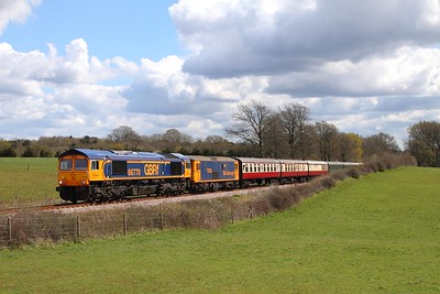 66770+73136 on the 1230 Sheffield Park to East Grinstead at Freshfield on the 17th April 2016