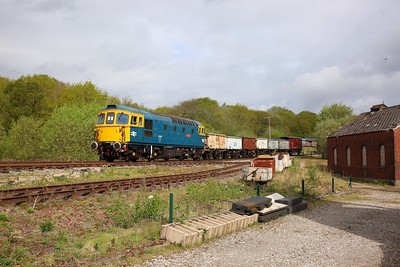33102 heads towards Foxfield Colliery with a mineral train on the 26th April 2019 1