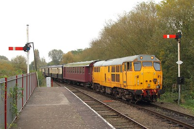 31285 on the 2M47 1210 Peterborough to Wansford arriving at Orton Mere on the 15th October 2017