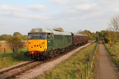 31452 on the 2M52 1530 Peterborough to Wansford at Castor on the 15th October 2017