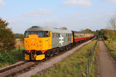 31108 on the 2M51 1450 Peterborough to Wasnford at Castor on the 15th October 2017