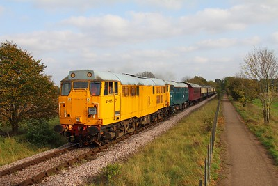 31465+31459 on the 2M50 1410 Peterborough to Wansford at Castor on the 15th October 2017
