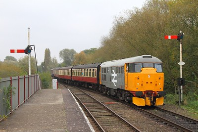 31108 on the 2M45 1050 Peterborough to Wansford arriving at Orton Mere on the 15th October 2017