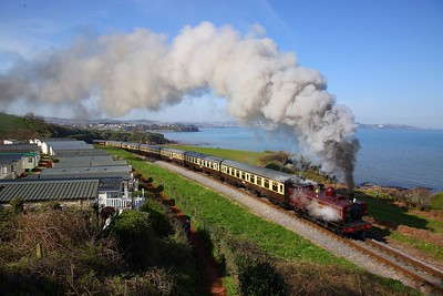 London Transport Pannier Tank L94 works the 1615 Paignton to Kingswear past Waterside Caravan Park, Goodrington on the 18th April 2018