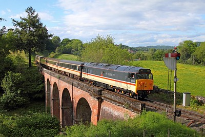 50031 on the 1654 Bridgnorth to Kidderminster at Oldbury viaduct on the 20th May 2017