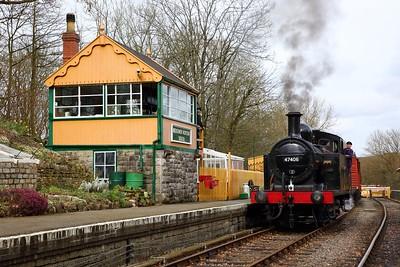 Jinty 47406 stabled next to Midsomer Norton signal box on the 23rd March 2018 1