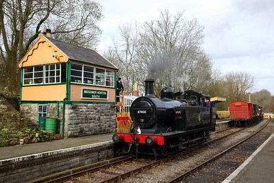 Jinty 47406 stabled next to Midsomer Norton signal box on the 23rd March 2018
