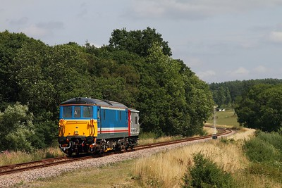 73140 at Lealands approaching Groombridge on the 2G13 1400 Tunbridge Wells to Groombridge on the 1st August 2014