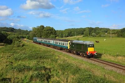 D8188 leading 1830 Tunbridge Wells to Eridge at Pokehill farm on 6 August 2021  Class20, SpaValleyRailway