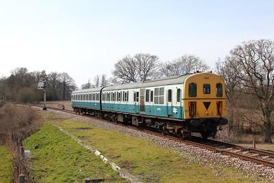 1317 on the 2T32 1345 Eridge to Tunbridge Wells at Pokehill farm on the 1st April 2016