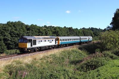 33063+1317 on the 2G15 1000 Tunbridge Wells West to Eridge at Pokehill farm on the 6th August 2016