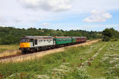 33063 on the 2J65 1220 Tunbridge Wells West to Eridge at Pokehill farm crossing on the 5th August 2016