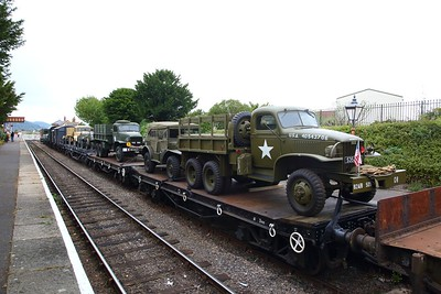 Military vehicles on the military goods train at Blue Anchor on the West Somerset Railway during the 1940s event on the 16th September 2018