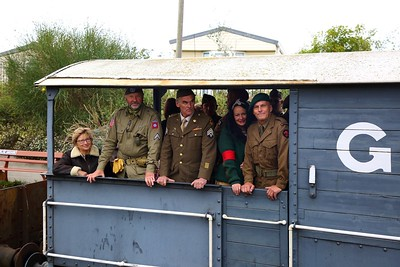 Re-enactors and members of the public in the goods van at Blue Anchor on the 16th September 2018