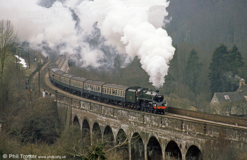 BR '4MT' no. 75069 climbs the 1 in 60 to Sapperton over Frampton Mansell Viaduct with the Newport to Swindon, 'The Red Dragon' on 2nd March 1985.