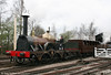 Replica GWR broad gauge Gooch 'Firefly' 2-2-2 leaves Burlescombe transfer shed, Didcot on 5th April 2010. Note the use of the new replica 2nd class broad gauge coach.